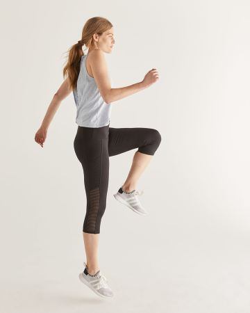 Hyba Black Capri Legging with Mesh Inserts