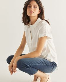 Short Sleeve White Poplin Blouse