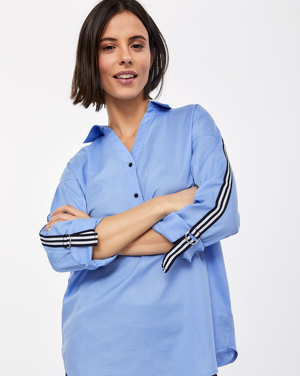 Long Sleeve Blouse with Stripe Bands