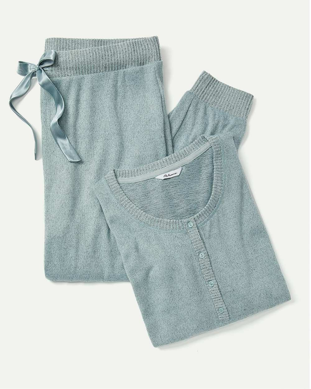 Long Sleeve Henley Neck & Jogger Brushed Pyjama Set