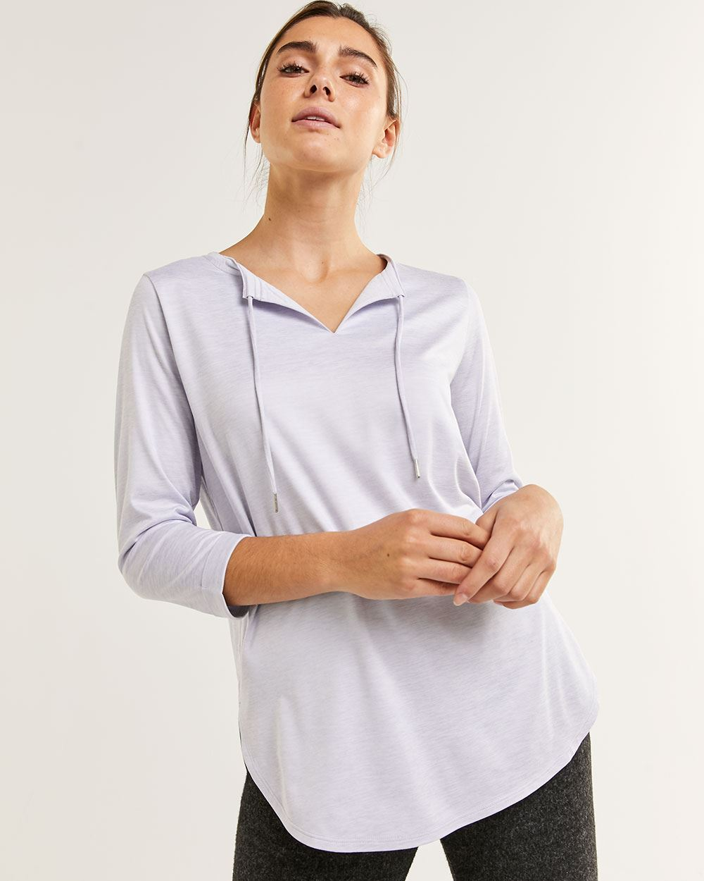 3/4 Sleeve Split Neck Tee Ultra Soft Hyba