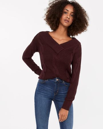 Wide V-neck Cable Sweater