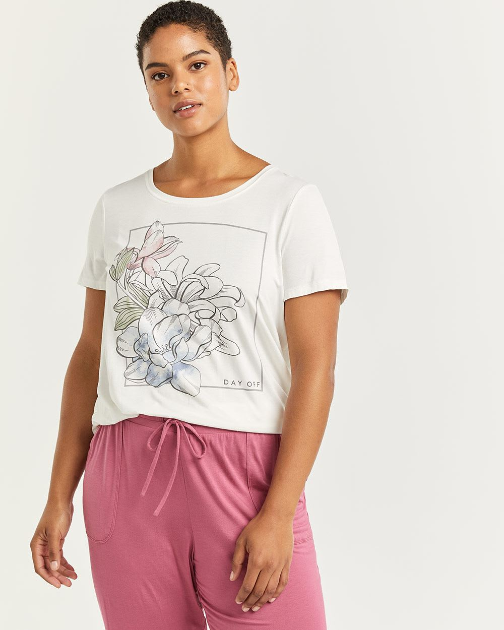 Cotton-Blend Short Sleeve Crew Neck Pyjama Tee