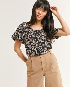 Short Raglan Balloon Sleeve Printed Blouse