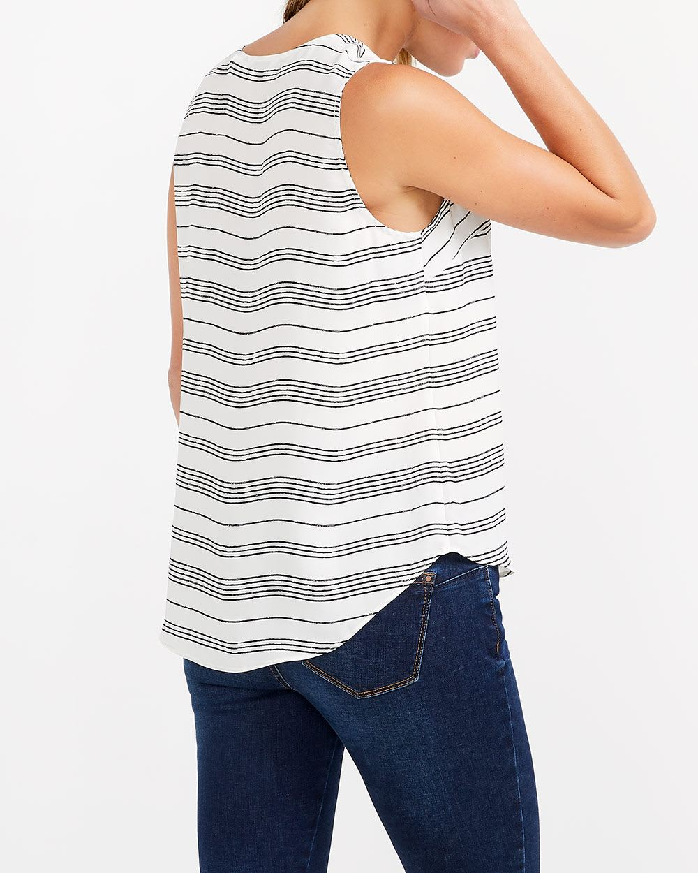 Sleeveless Striped Blouse