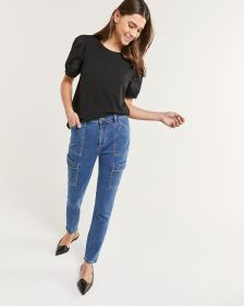 High Rise Skinny Cargo Jeans