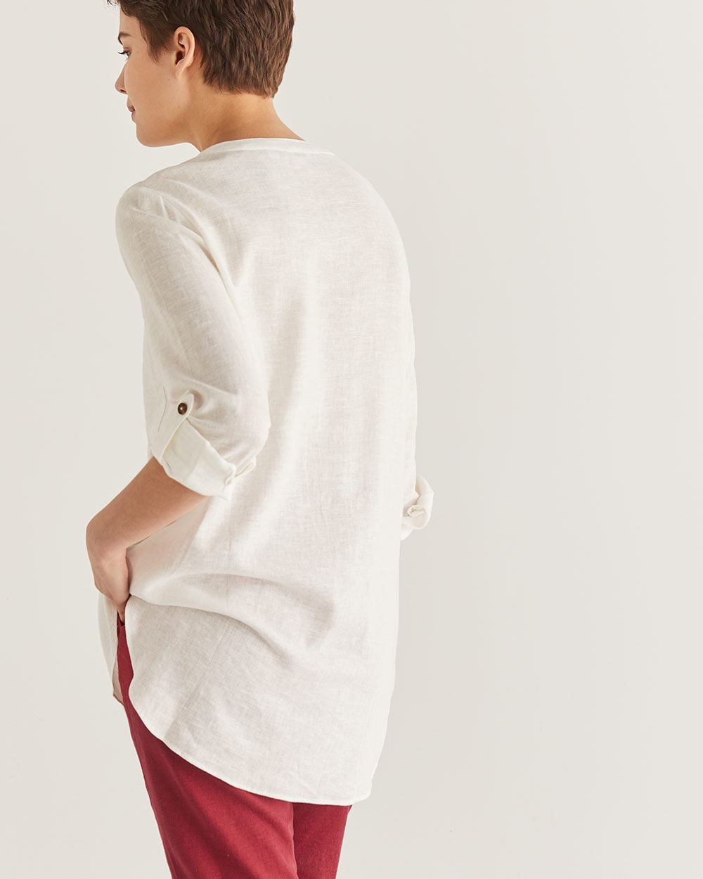 Linen-Blend Mao Collar Shirt