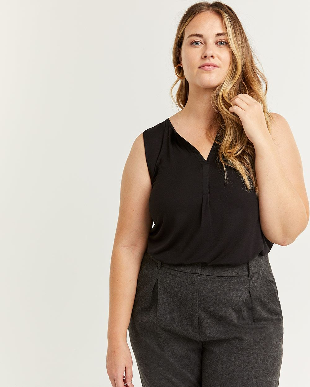 Split Neck Sleeveless Top