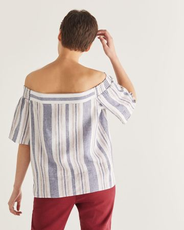 Linen-Blend Stripe Off-the-shoulder Blouse - Petite