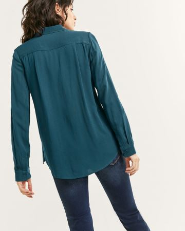 Long Sleeve Blouse with Pockets - Petite