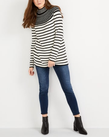 Jacquard Pattern Striped Sweater