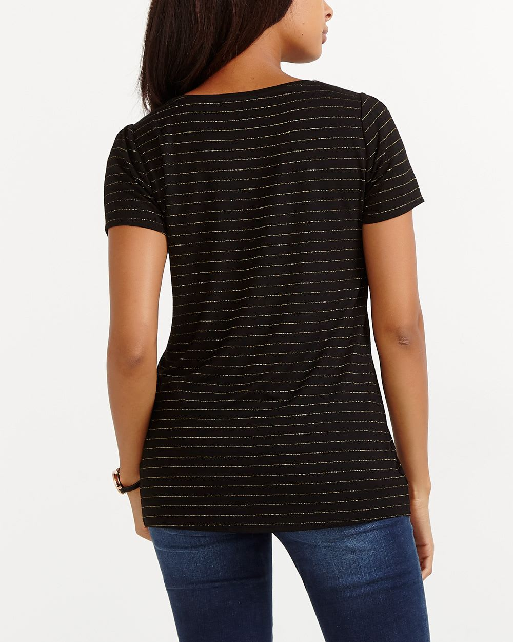 Metallic Fiber Striped Tee