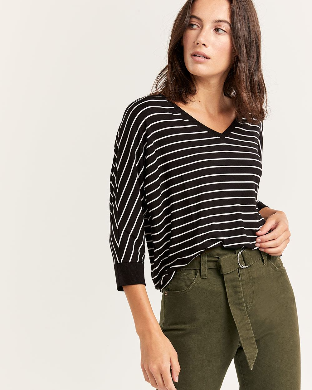 3/4 Dolman Sleeve Striped Tee