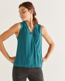 Mix Media Sleeveless Wrap Top