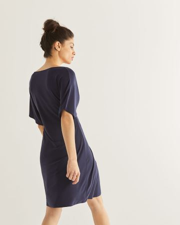 Front Tie Navy Dress