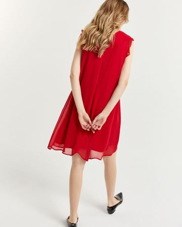 Swing Chiffon Dress with Flutter Sleeves