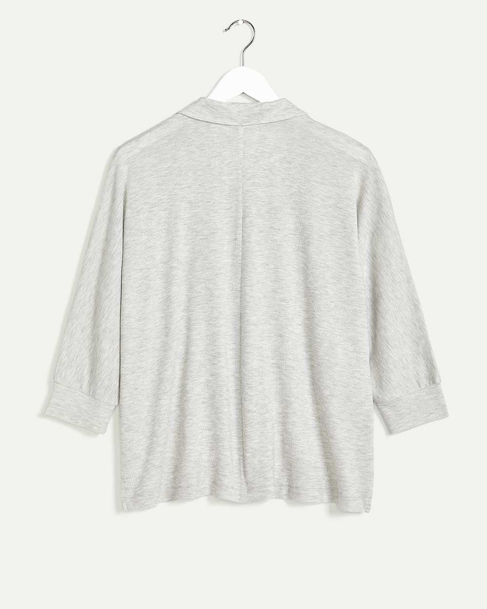3/4 Dolman Sleeve Top with Johnny Collar