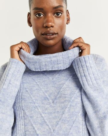 Cowl Neck Sweater with Chevron Cables