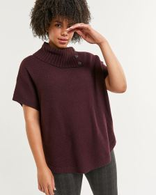 Split Neck Short Sleeve Poncho