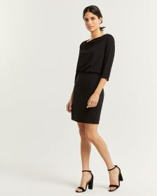 3/4 Sleeve Draped Neck Elastic Waist Dress