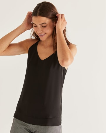 Crisscross Back Detail Black Cami