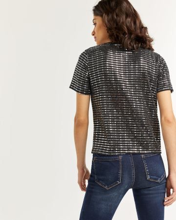 Sequin Crew Neck Tee
