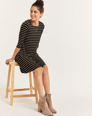 3/4 Sleeve Swing Striped Dress
