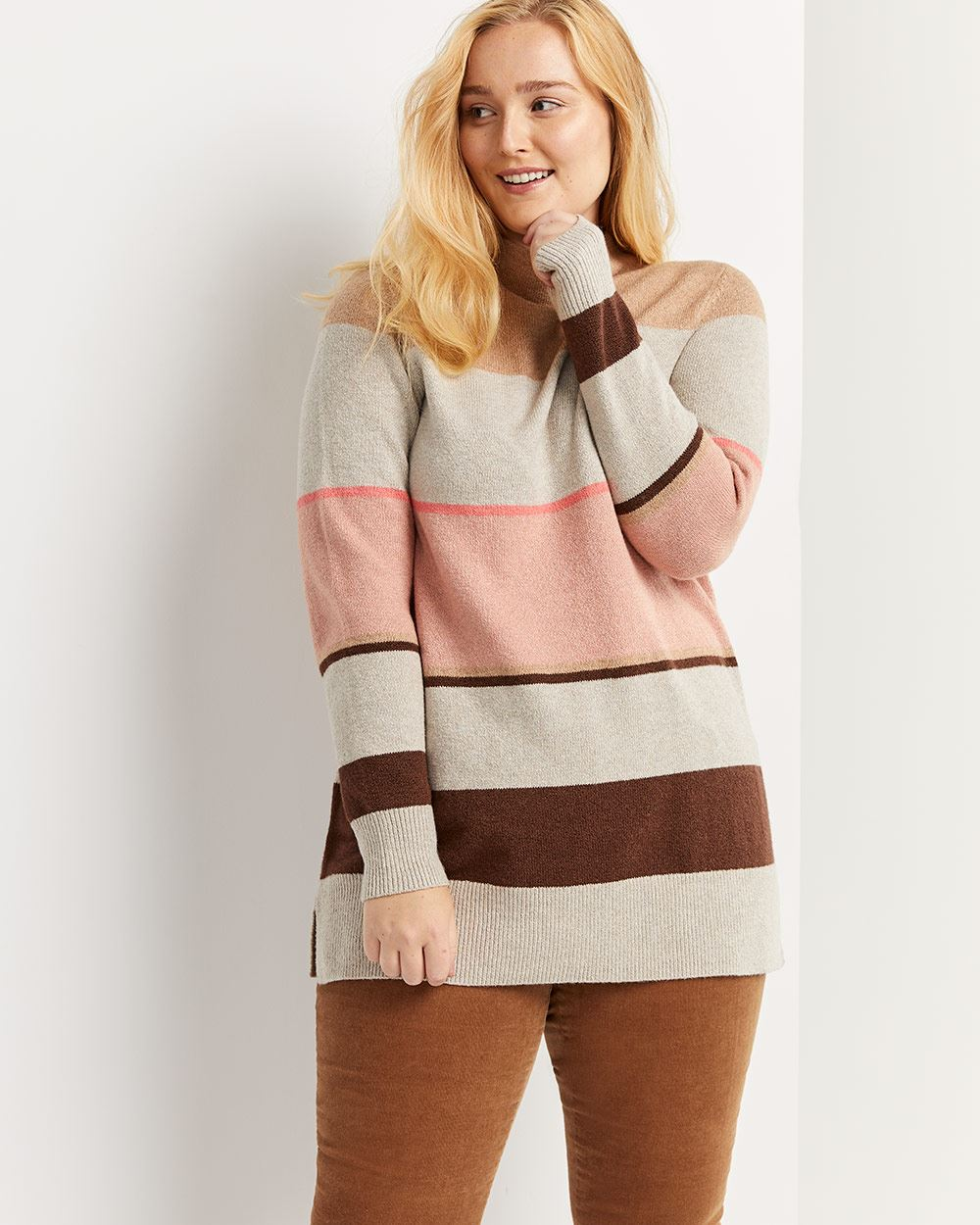 Funnel Neck Striped Tunic Sweater