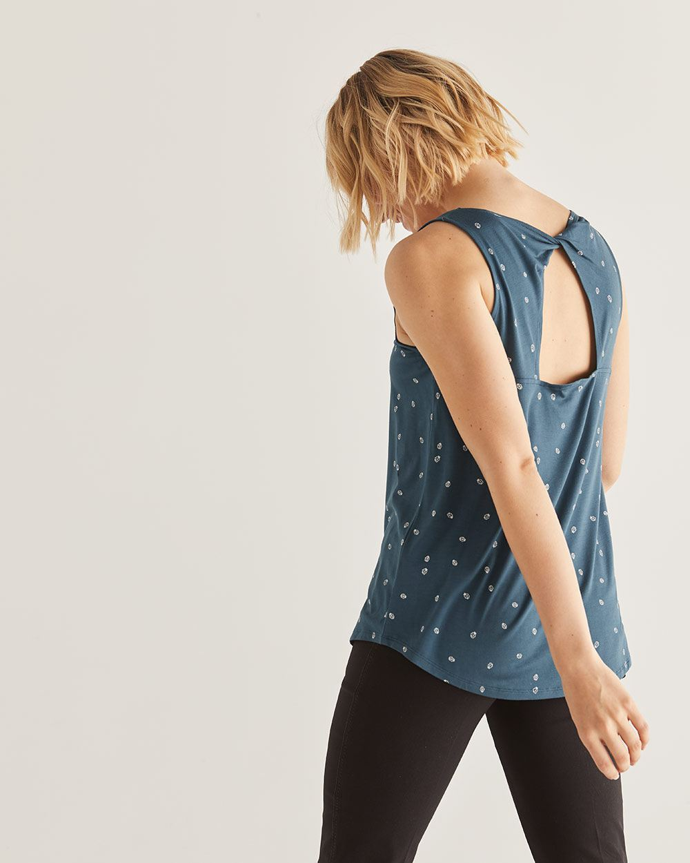 Twisted Back Printed Tank