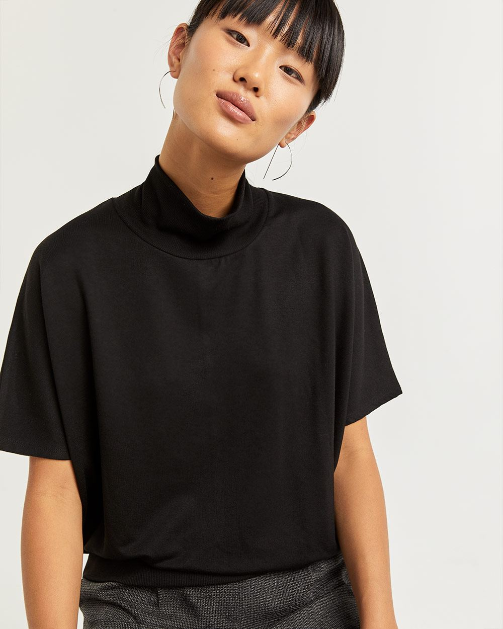 Mock Neck French Terry Poncho