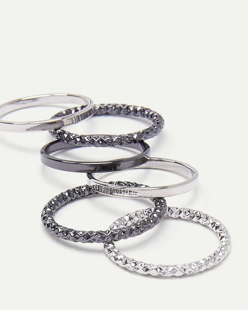 6-Piece Textured Rings