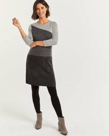 Colorblock Bodycon Sweater Dress