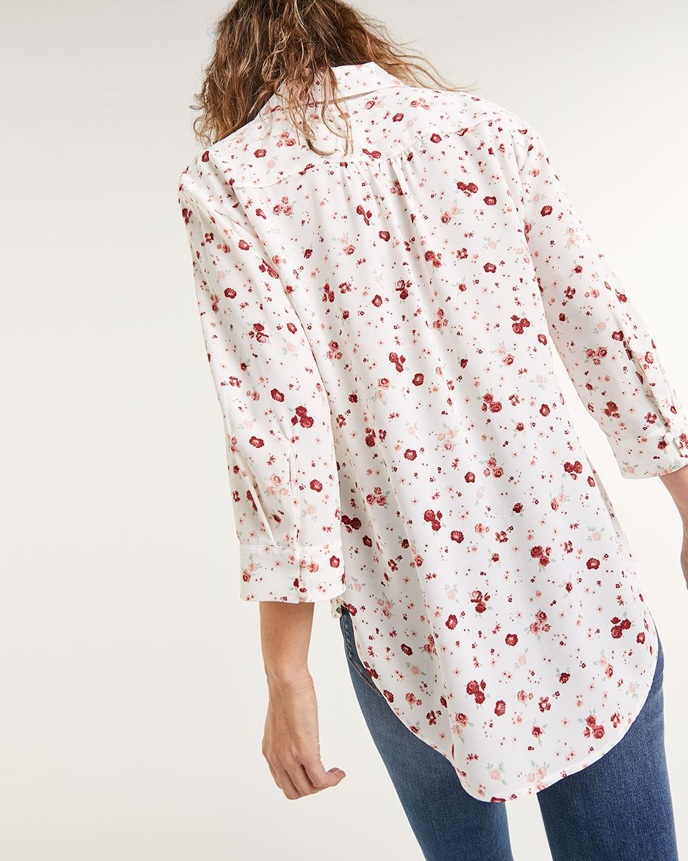 3/4 Sleeve Johnny Collar Printed Blouse - Petite