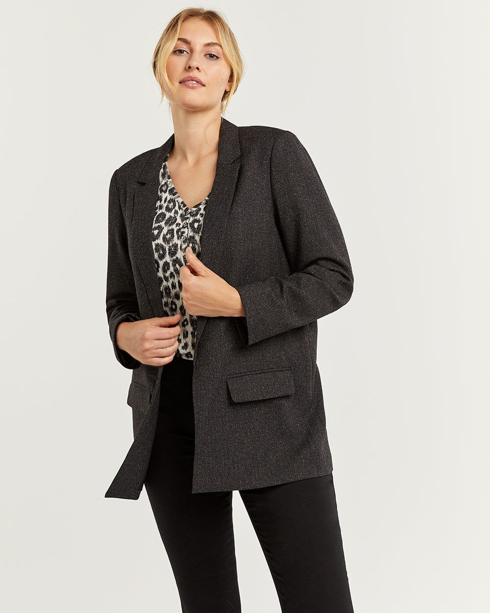 Nep Yarn Long Open Blazer