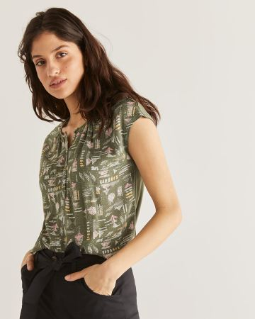 Buttoned Mix Media Printed Tee - Petite