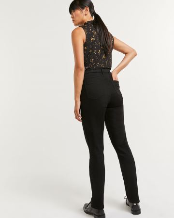 High Rise Vintage Slim Leg Black Jeans