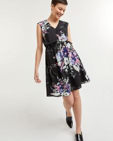 Sleeveless Printed Dress with Elastic Waist