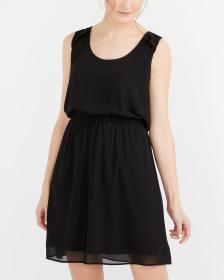 Sleeveless Elastic Waist Solid Dress