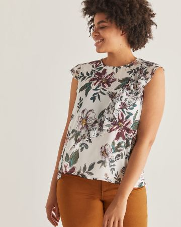 Asymmetrical Ruffle Blouse with Flutter Sleeves