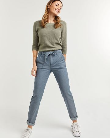 Herringbone Slim Chino Pants with Sash