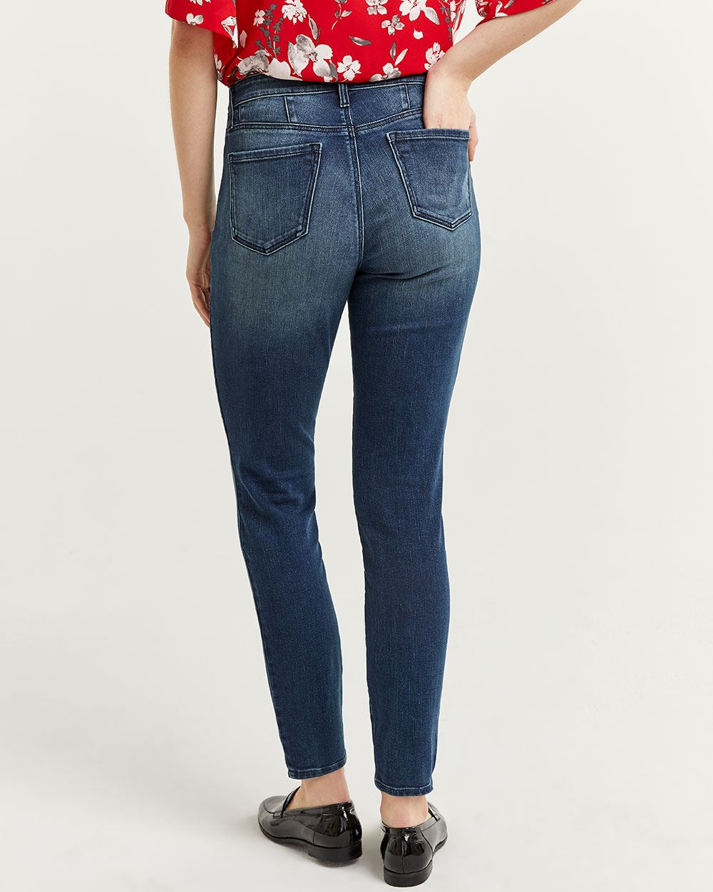 Skinny Jeans with Angled Front Yoke