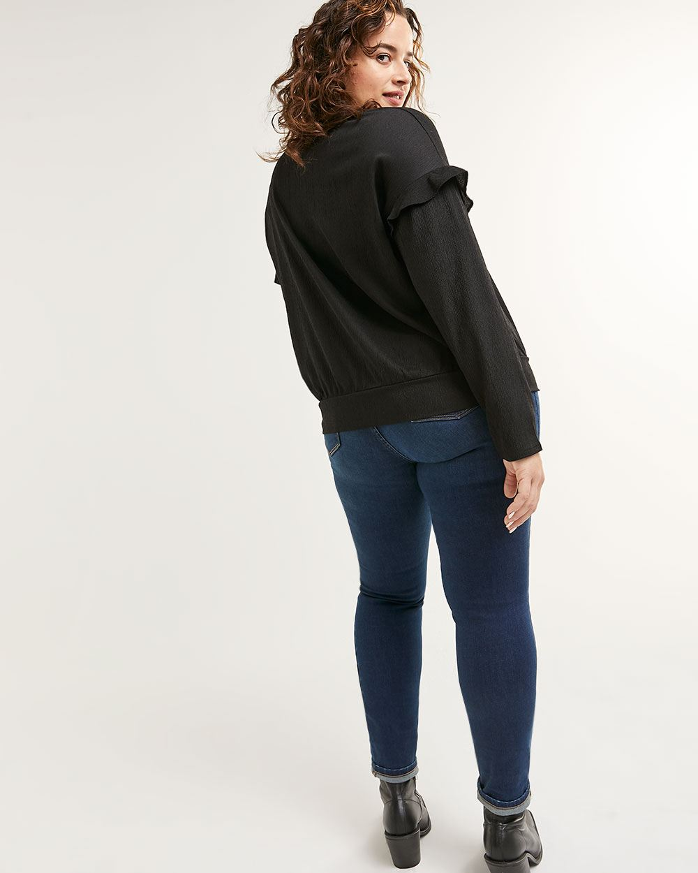 Long Sleeve Crew Neck Top with Ruffles