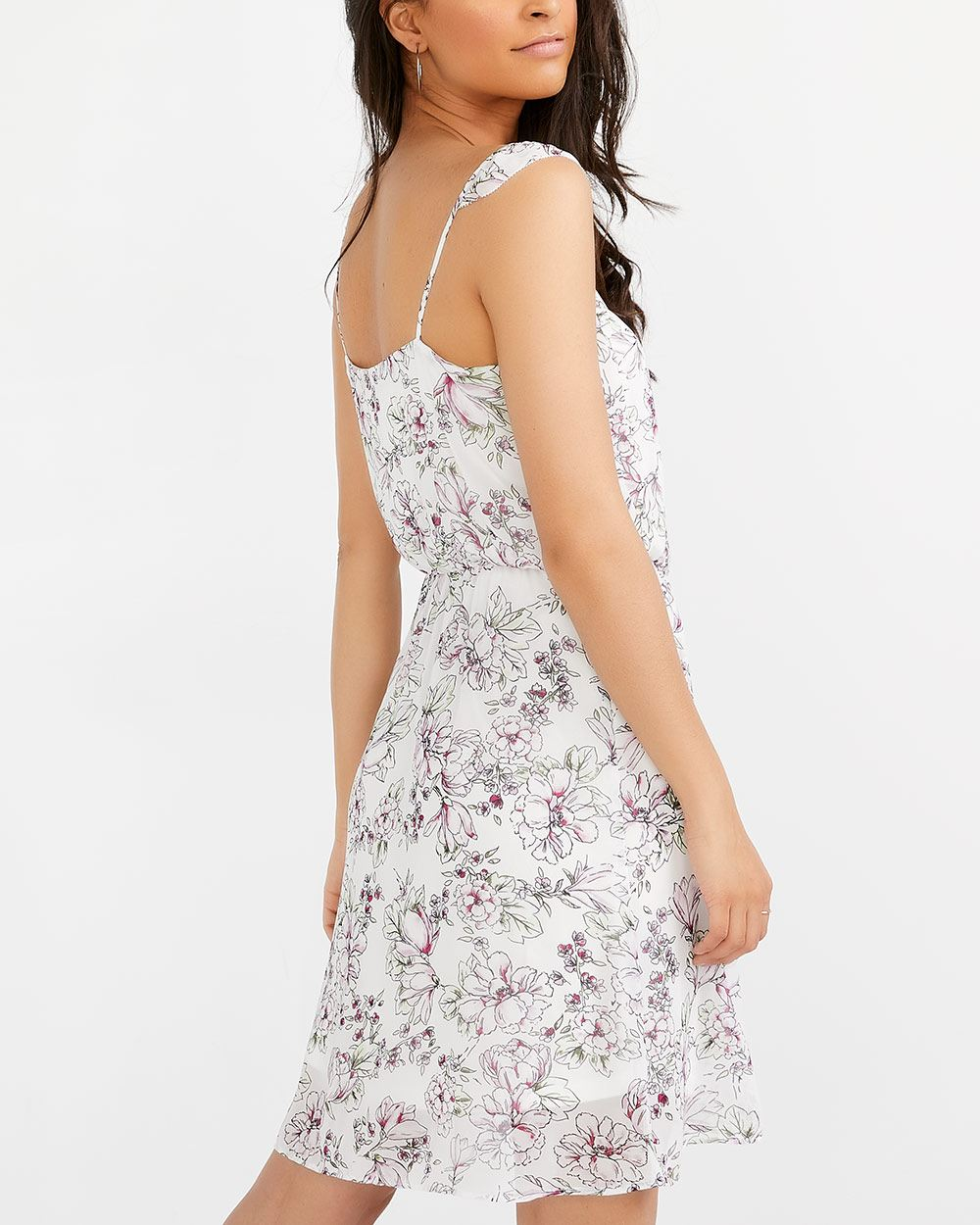Sleeveless Elastic Waist Printed Dress