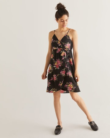 Floral Printed Elastic Waist Wrap Dress