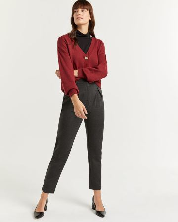High Waist Peg Leg Pleated Pants - Tall