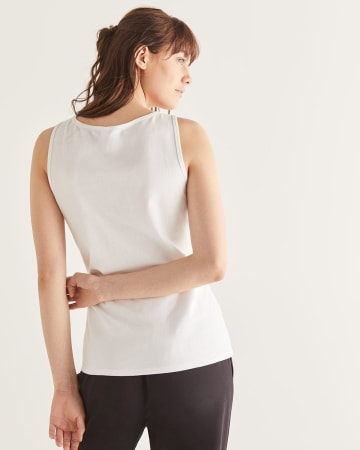 R Essential White Cotton Tank Top