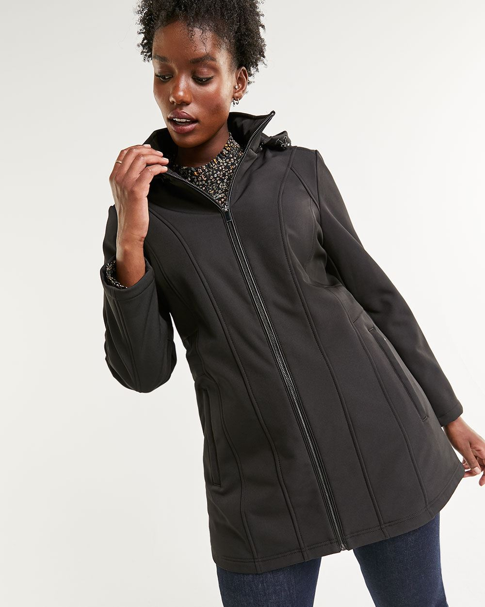 Faux Leather Trim Water-Repellent Jacket with Removable Hood