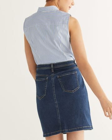 Front Buttons Denim Skirt