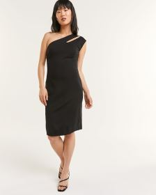 One-Shoulder Solid Shift Dress