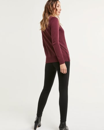 Long Sleeve Crew Neck Textured Sweater with Side Buttons